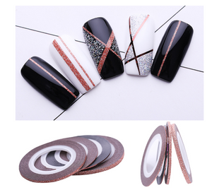 4Pcs Rose Gold Matte Glitter Nail Striping Tape