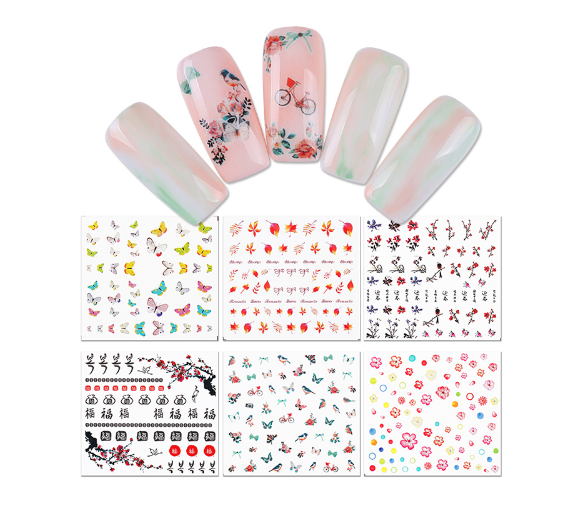1 Sheet Butterfly Flower Maple Leaf Water Decal Manicure Nail Art