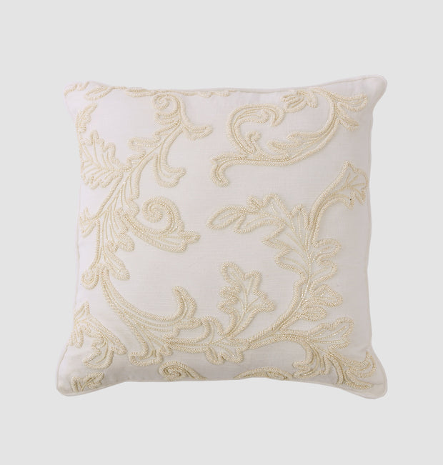 Coconut Beaded Leaf Cushion - DaOneHomes