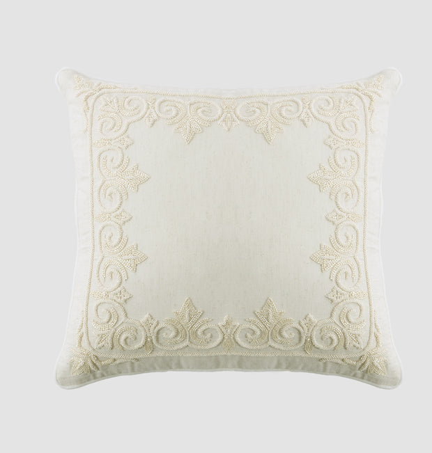 Coconut Beaded Jewel Cushion - DaOneHomes