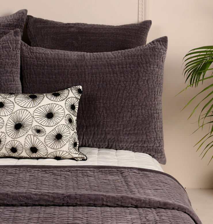 Charcoal Black Velvet Pillow Sham - DaOneHomes