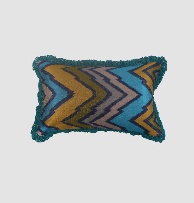 Peacock Blue Zig Zag Cushion - DaOneHomes