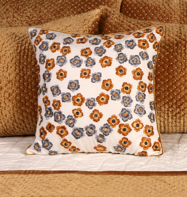 Honey Grey Blossom Cushion - DaOneHomes