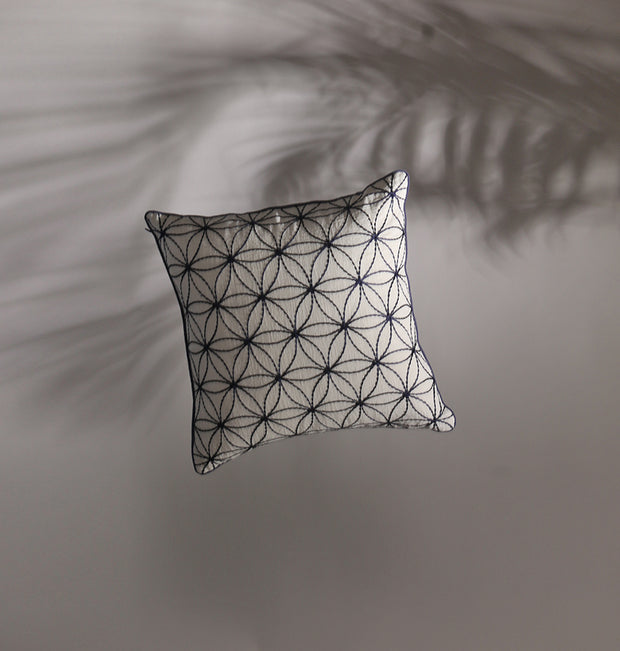 White Flower Blossom Cushion - DaOneHomes
