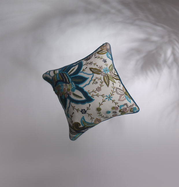 Peacock Blue Floral Bliss Cushion - DaOneHomes