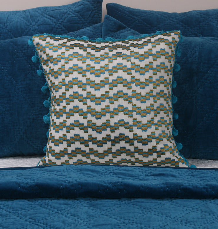 Peacock Blue Chevron Cushion - DaOneHomes