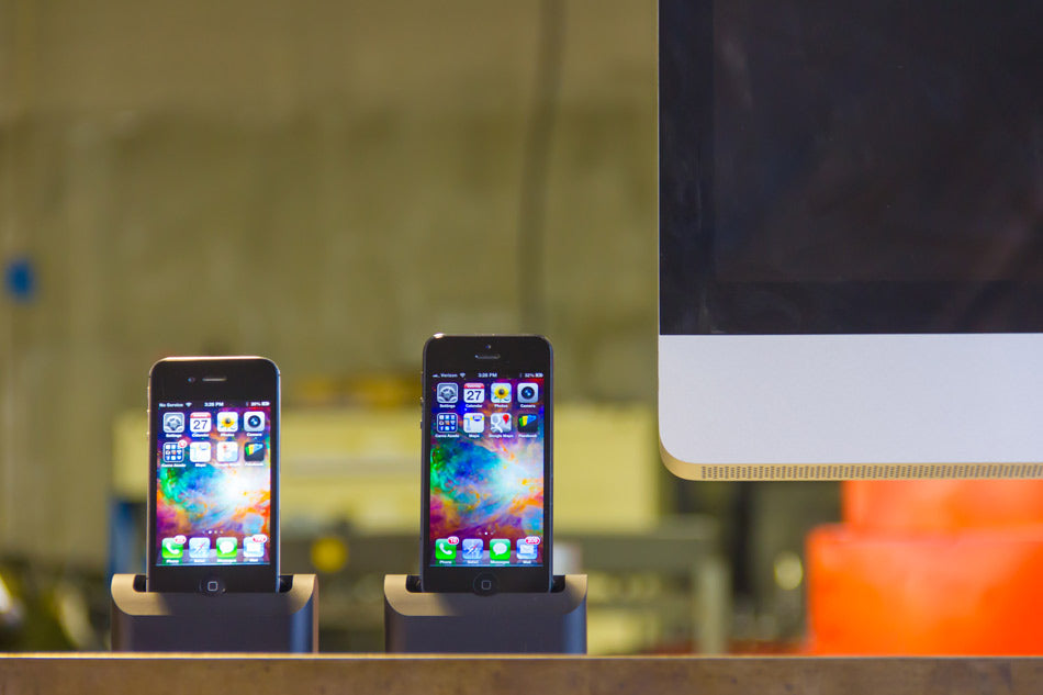 Two matte black Elevation Docks in warehouse