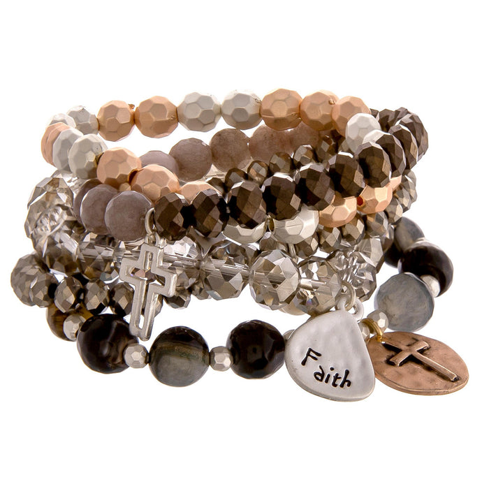Faith Beads & Metal Bracelet