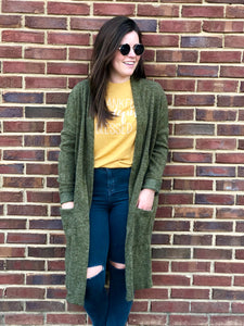 Olive Duster Cardigan