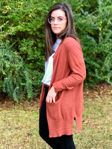 Rust Front Pocket Cardigan