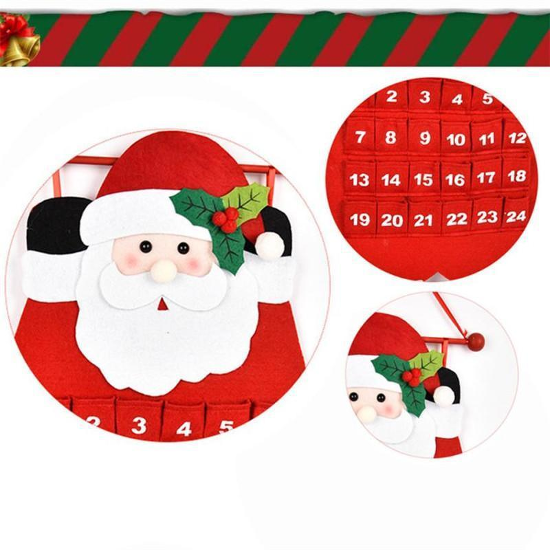 Christmas - Hanging Decorated Advent Calendar With Pockets