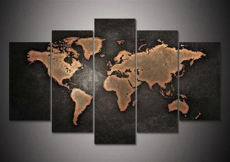 Home - Retro World Map Canvas - 5 Pieces