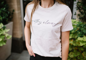 """Worthy Always"" Vintage White Tee"