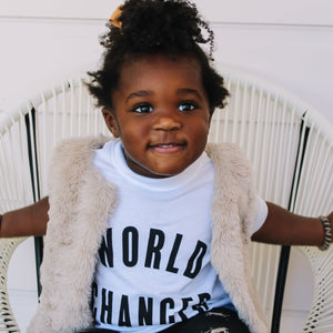 """World Changer"" Toddler + Kids Tee"
