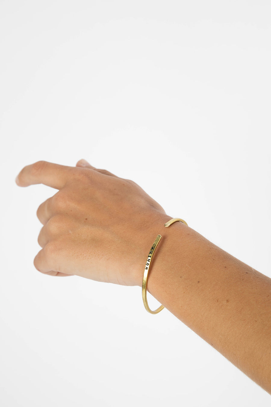 """Worthy"" Brass Cuff"