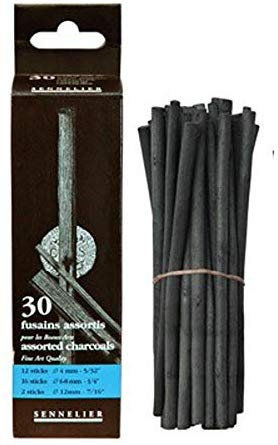 BOX OF 30 ASSORTED CHARCOAL
