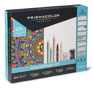 Prismacolor Premier Pencils Adult Mandala Coloring Kit with Blender, Art Marker, Eraser, Sharpener & Booklet, 29 Piece