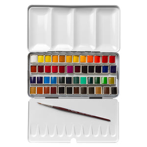 EXTRA-FINE WATERCOLOUR SET 48 HALF PAN IN METAL BOX WITH BRUSH