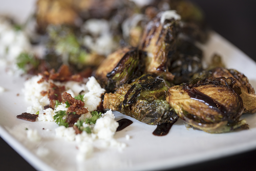 Brussels Sprouts with Feta & Honey Balsamic Vinaigrette