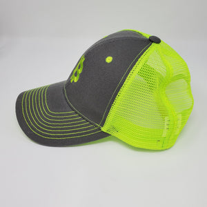 Clearance Trucker Hat Bitcoin Logo Gray and Neon Yellow