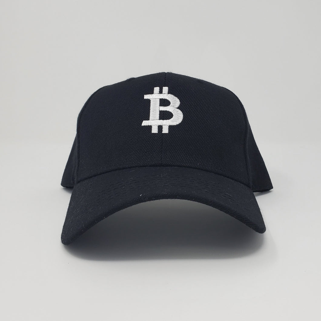 Clearance Baseball Hat Black with White Bitcoin Logo