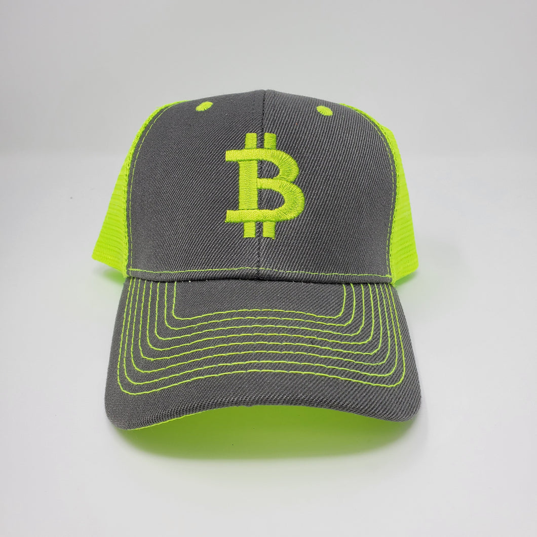 Bitcoin Btc Trucker Mesh Gray/Neon Yellow Hat