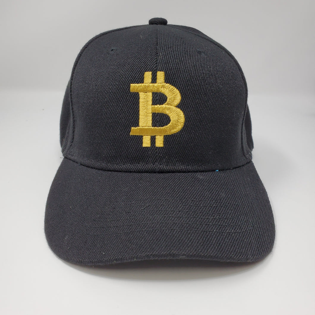 Bitcoin Logo Black and Gold Baseball Hat