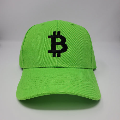 Bitcoin Logo Baseball Hat Neon Green