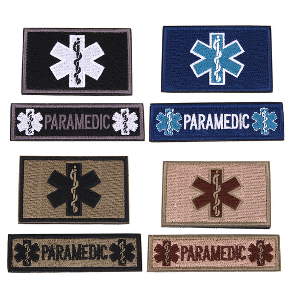 2Pcs Paramedic Patches for Clothing Emergency Embroidered Medical Patch Military Tactical Armband Badges