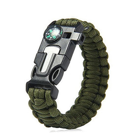 Outdoor 5 In 1 Survival Rescue Bracelet Rope With Compass