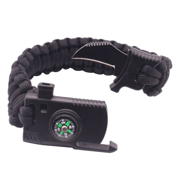 Paracord Bracelet Outdoor Survival Gear Tactical Bracelet Whistle Compass Fire Starter Knife