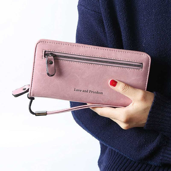 Fashion Vintage PU Leather Women Wallet Printing Letter Ladies Purse Long Wallets Card Holder Money Bag Long Wallet