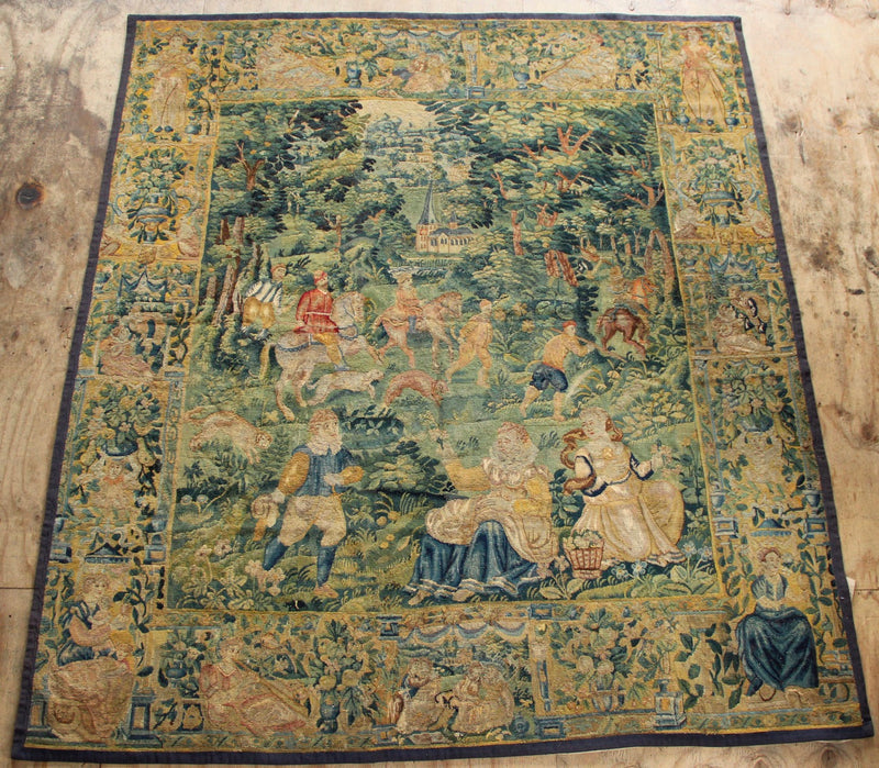 "A Flemish Game Park Tapestry, 17th Century 7'8"" x 8'9"" / 234 x 266cm"