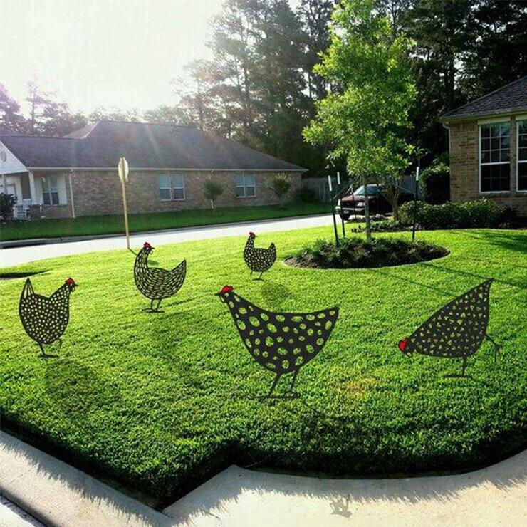 Chickies Poule Poulet Decoration Jardin Pelouse