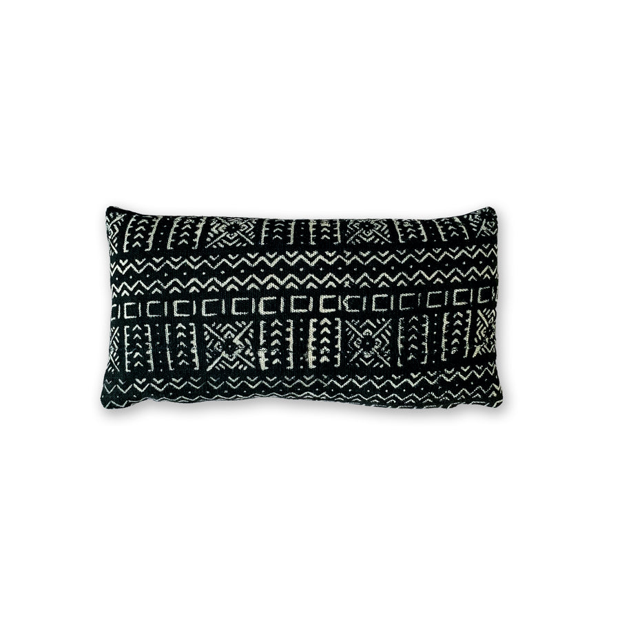 Odisa Black Lumbar Mudcloth Cushion           <br>27 x 45cm
