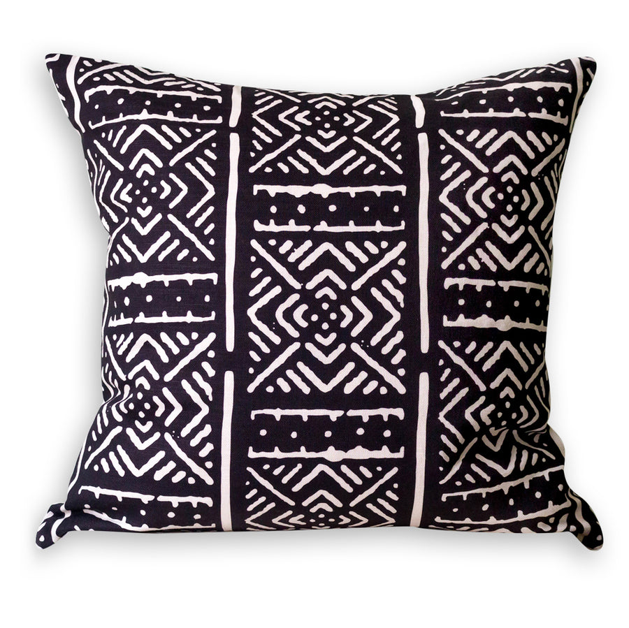 Black Printed Mudcloth Cushion           <br>45 x 45cm