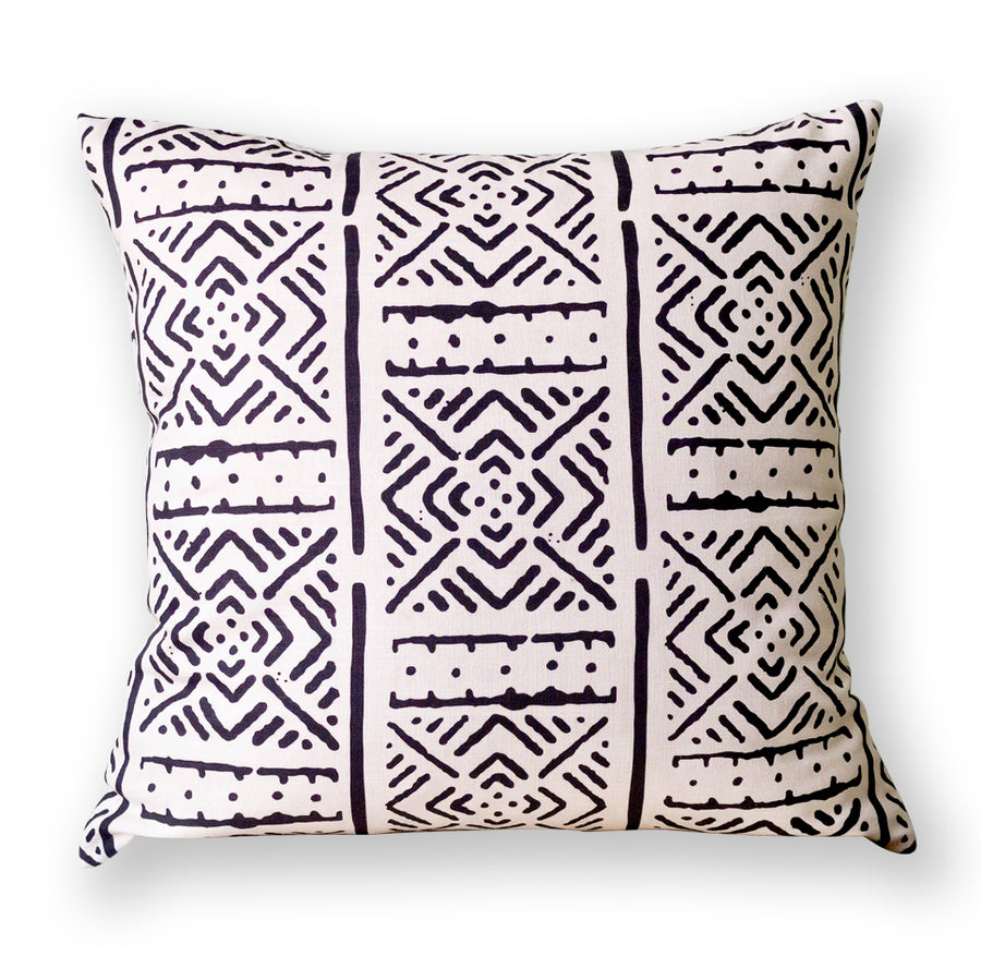 White Printed Mudcloth Cushion           <br>45 x 45cm