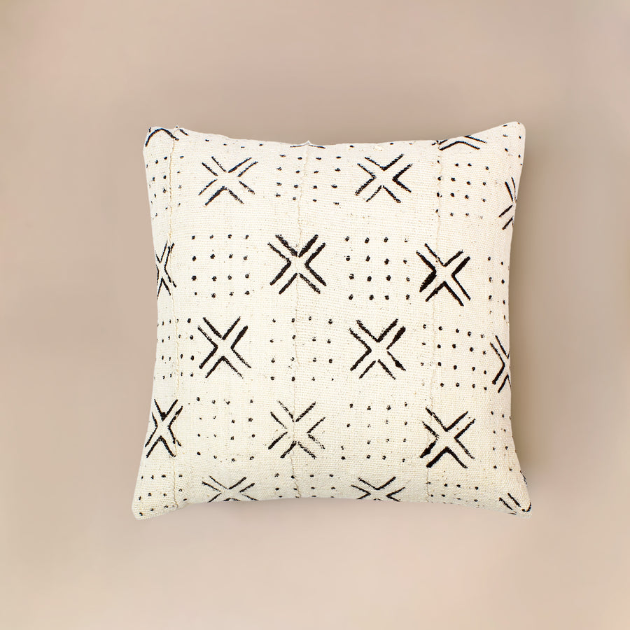 Obe White Mudcloth Cushion           <br>45 x 45cm