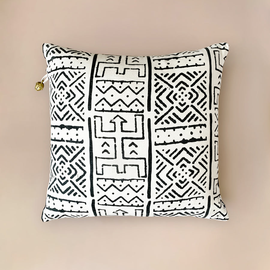 Mbali White Printed Mudcloth Cushion           <br>45 x 45cm