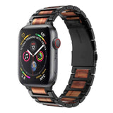 Wooden Red Stainless Steel Bracelet For Apple Watch