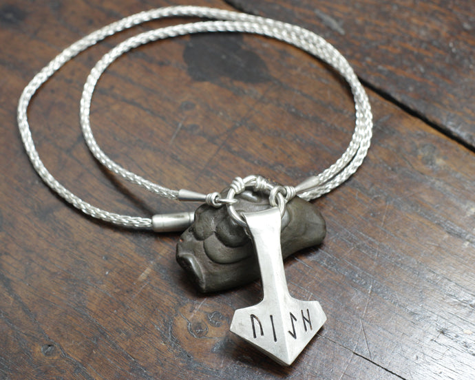 Large Forged Silver Thor's hammer Necklace, Reserved