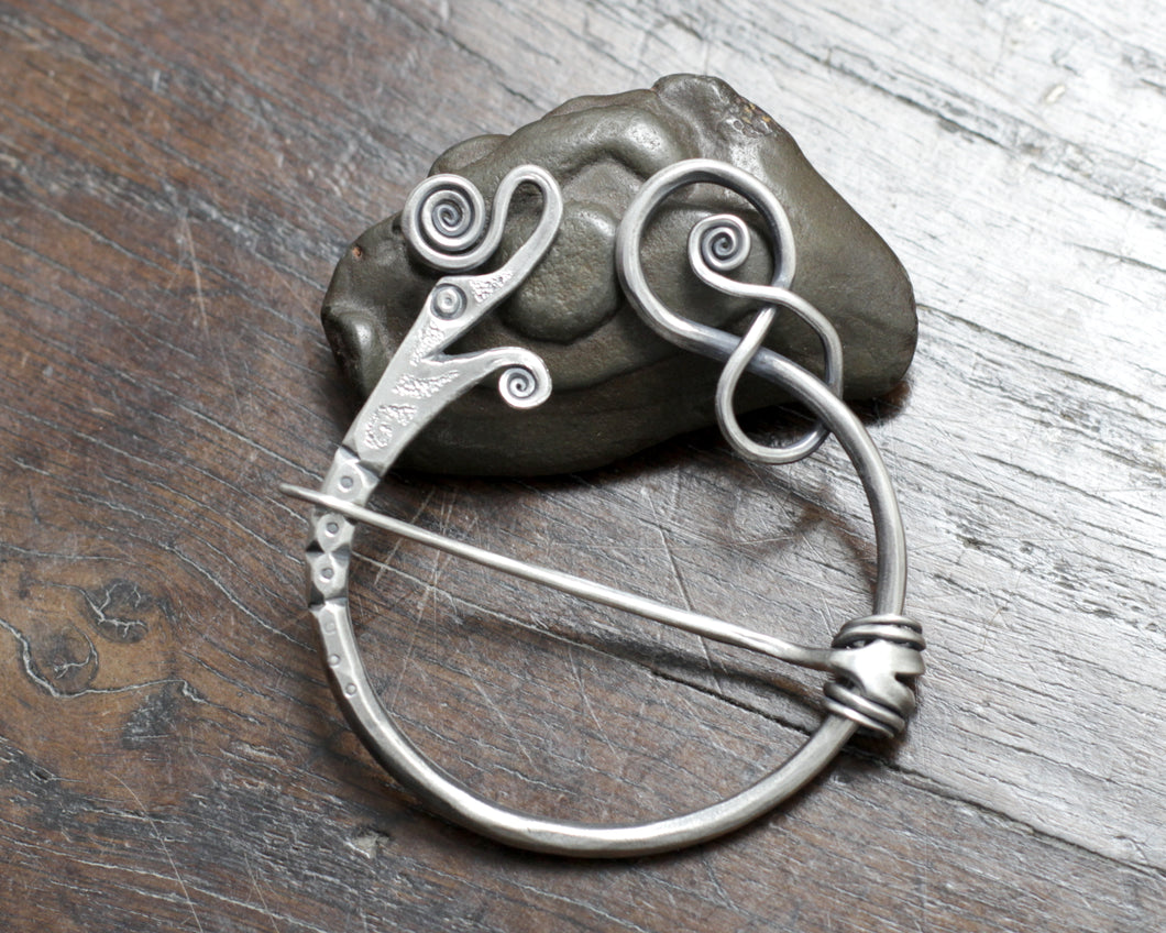 Silver Viking Dragon Pennanular Brooch by Taitaya Forge