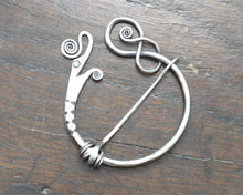 Load image into Gallery viewer, Silver Viking Dragon Pennanular Brooch by Taitaya Forge