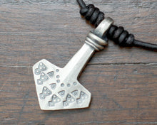Load image into Gallery viewer, Silver Thors hammer pendant, Hand forged and decorated