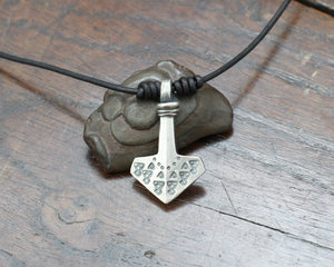 Silver Thors hammer pendant, Hand forged and decorated