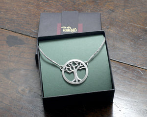 Silver Yggdrasil Tree Necklace by Taitaya Forge, Design by Marleena Barran - gift box