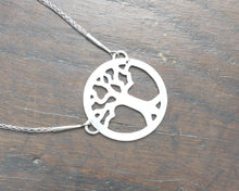 Load image into Gallery viewer, Silver Yggdrasil Tree Necklace by Taitaya Forge, Design by Marleena Barran - Back of the pendant