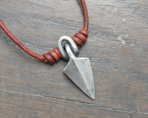 Forged Silver Viking Arrow Head Pendant