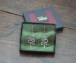 Forged Silver Snake Earrings
