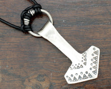 Load image into Gallery viewer, Large Forged Silver Thor's hammer Necklace